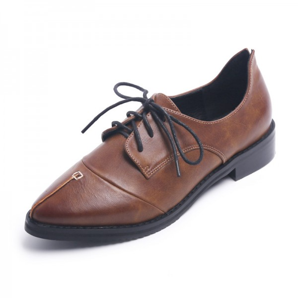 Doris Brown Leather Pointed Toe Vintage Lace-up Flat Women's Oxfords image 1