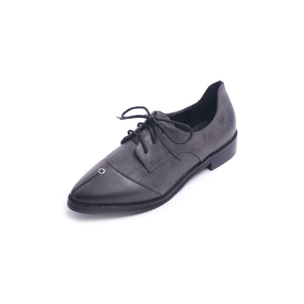 Navy Leather Pointed Toe Vintage Lace-up Flat Women's Oxfords image 1