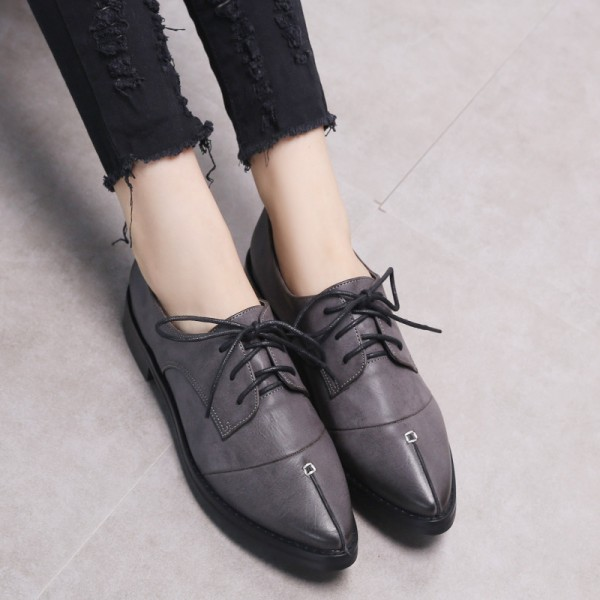 Navy Leather Pointed Toe Vintage Lace-up Flat Women's Oxfords image 2