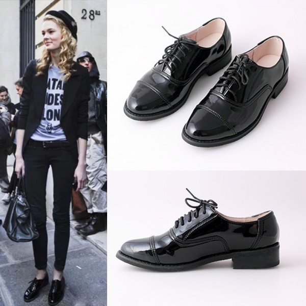 Black Women's Oxfords Comfortable Lace up Dress Shoes image 3