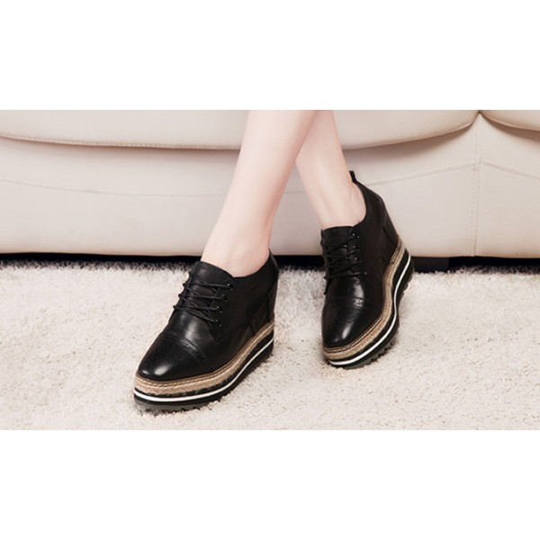Leila Black Wedge Brogue Round Toe Vintage Lace-up Flat Women's Oxfords image 3