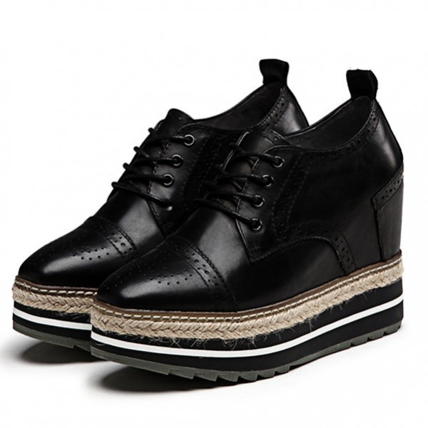 Leila Black Wedge Brogue Round Toe Vintage Lace-up Flat Women's Oxfords image 1