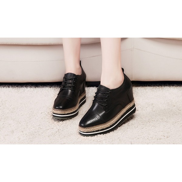 Leila Black Wedge Brogue Round Toe Vintage Lace-up Flat Women's Oxfords image 2