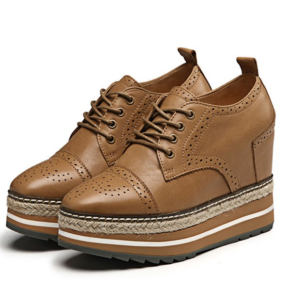 Doris Brown Wedge Brogue Round Toe Vintage Lace-up Flat Women's Oxfords image 1