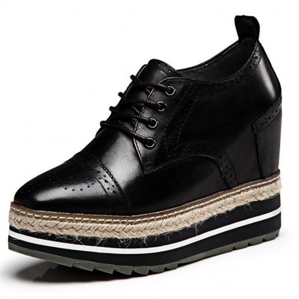 Leila Black Wedge Brogue Round Toe Vintage Lace-up Flat Women's Oxfords image 4