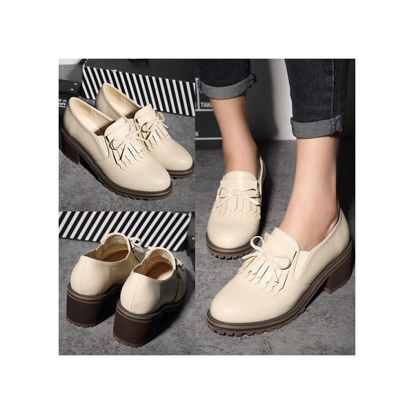 Beige Vintage Shoes Round Toe Brogues School Shoes image 2