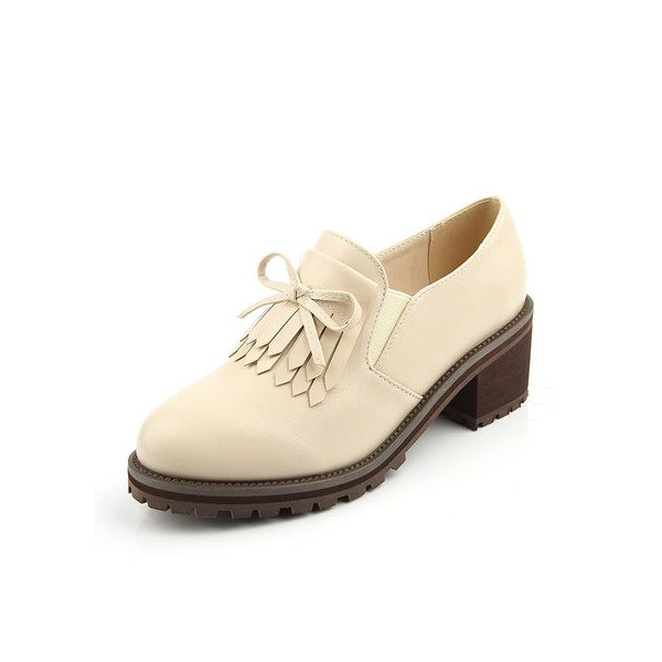 Beige Vintage Shoes Round Toe Brogues School Shoes image 3