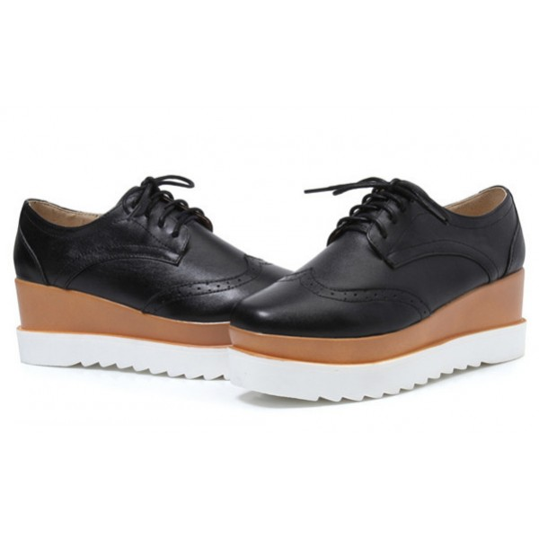 Leila Black Wedge Preppy Style Brogue Round Toe Vintage Lace-up Flat Women's Oxfords image 3