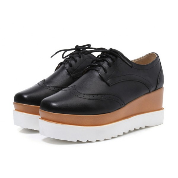 Leila Black Wedge Preppy Style Brogue Round Toe Vintage Lace-up Flat Women's Oxfords image 1