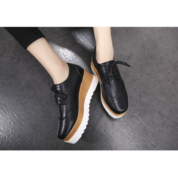 Leila Black Wedge Preppy Style Brogue Round Toe Vintage Lace-up Flat Women's Oxfords image 4