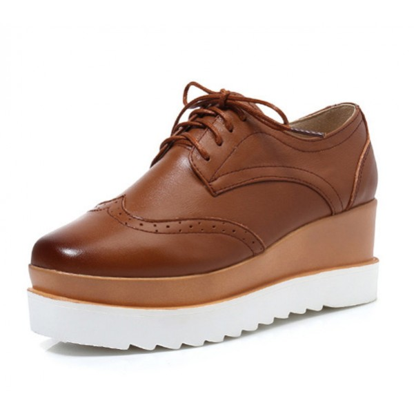 Brown Women's Oxfords Lace-up Vintage Platform Shoes image 1