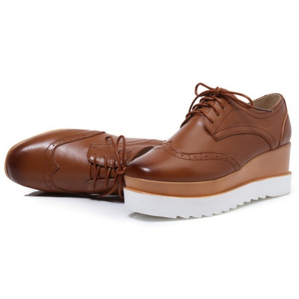 Brown Women's Oxfords Lace-up Vintage Platform Shoes image 2
