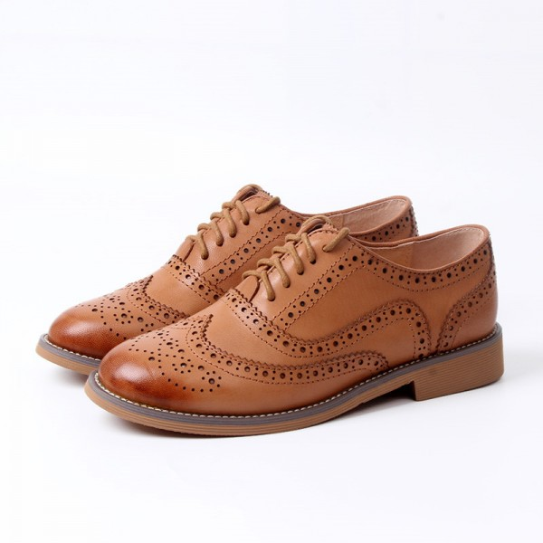 Tan Women's Oxfords Lace-up Brogues Vintage Flats image 1