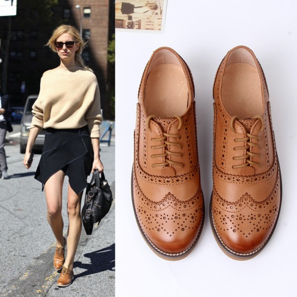 Tan Women's Oxfords Lace-up Brogues Vintage Flats image 5