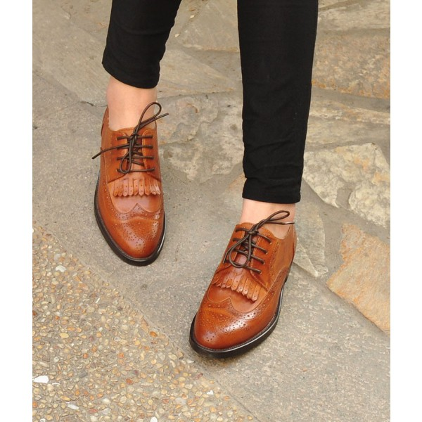 Women's Oxfords Brown Fringe Round Toe Vintage Shoes Lace-up Flats image 3
