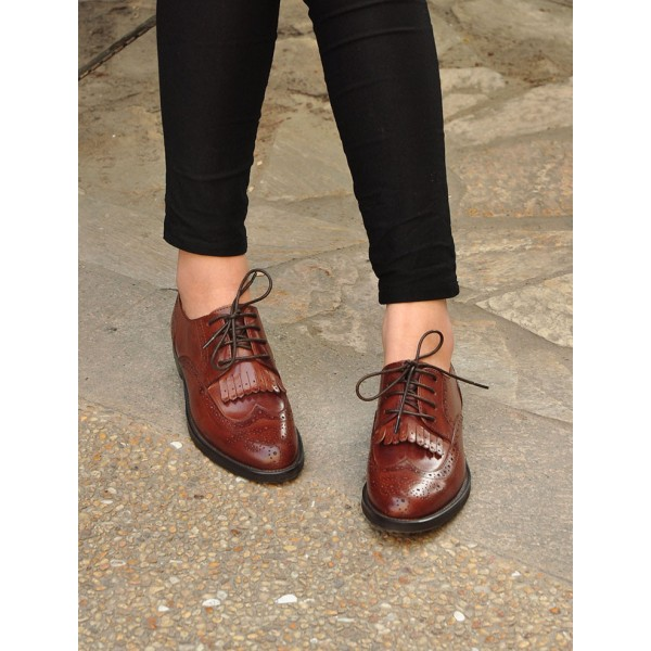 Dark Brown Fringy Round Toe Vintage Lace-up Flat Women's Oxfords image 2