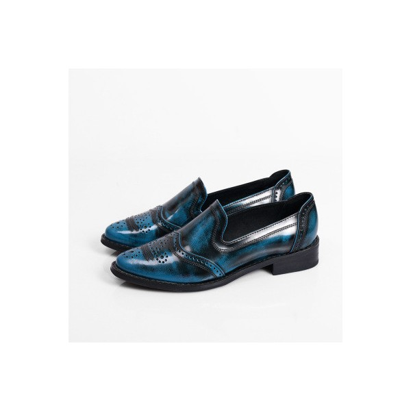 Women's Oxfords Blue Round Toe Vintage Slip-on Flats image 1