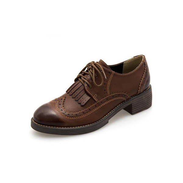 Brown Women's Oxfords Wingtip Shoes Lace-up Fringe Vintage Brogues image 7