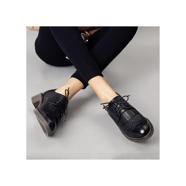 Leila Black Fringed Round Toe Vintage Lace-up Women's Oxfords Brogues image 3