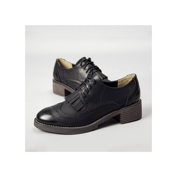 Leila Black Fringed Round Toe Vintage Lace-up Women's Oxfords Brogues image 1