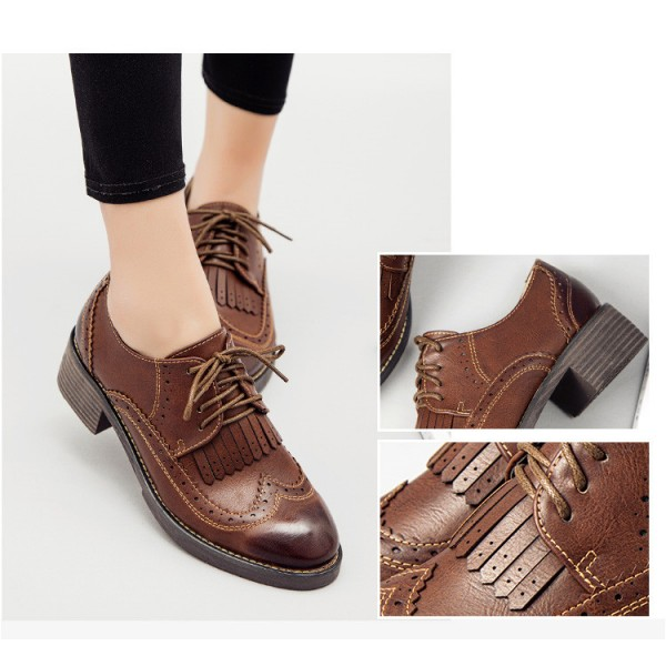 Brown Women's Oxfords Wingtip Shoes Lace-up Fringe Vintage Brogues image 2