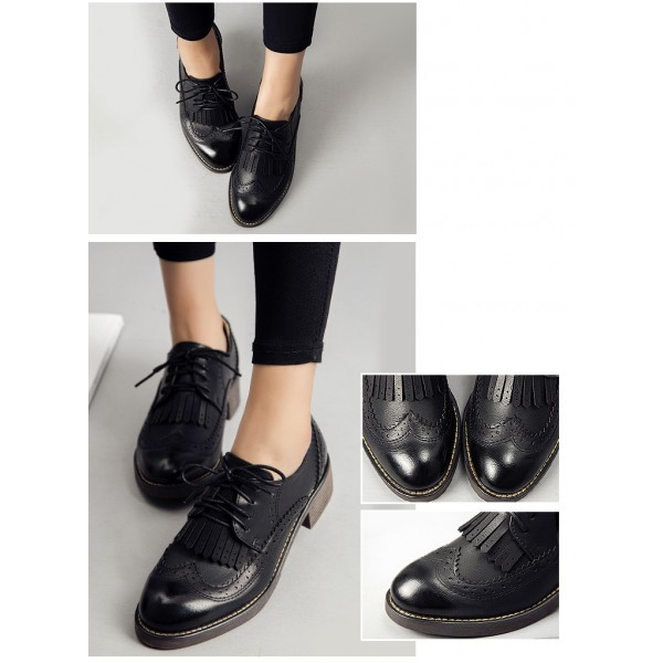 Leila Black Fringed Round Toe Vintage Lace-up Women's Oxfords Brogues image 2
