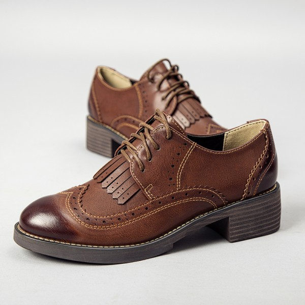 15298ba1 Brown Women's Oxfords Wingtip Shoes Lace-up Fringe Vintage Brogues