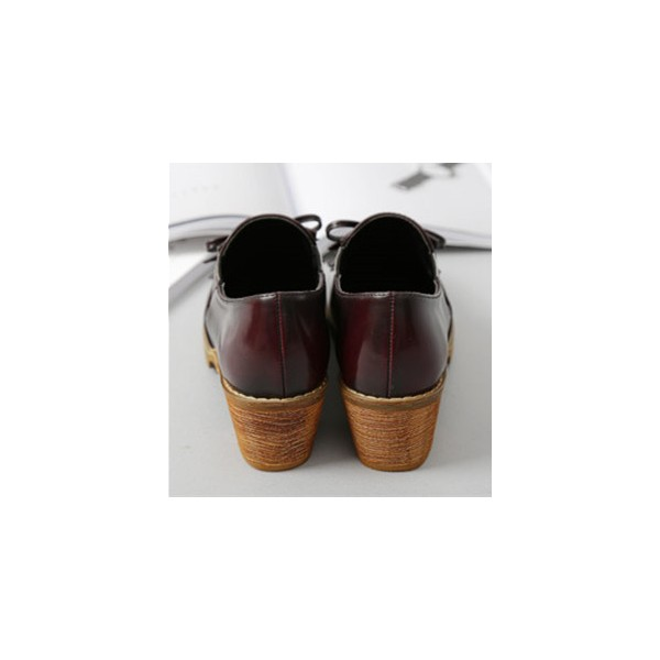 Women's Maroon Slip-on Fringed Leather Brogues Chunky Heels Shoes image 4