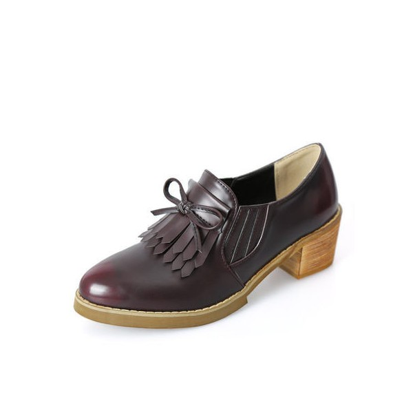 Women's Maroon Slip-on Fringed Leather Brogues Chunky Heels Shoes image 1