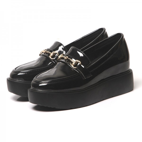 Black Patent Leather Square Toe Vintage Platform Loafers for Women image 1