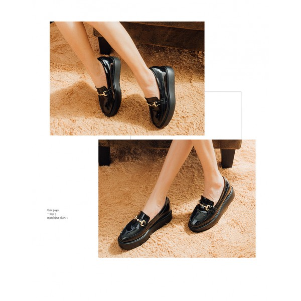 Black Patent Leather Square Toe Vintage Platform Loafers for Women image 2
