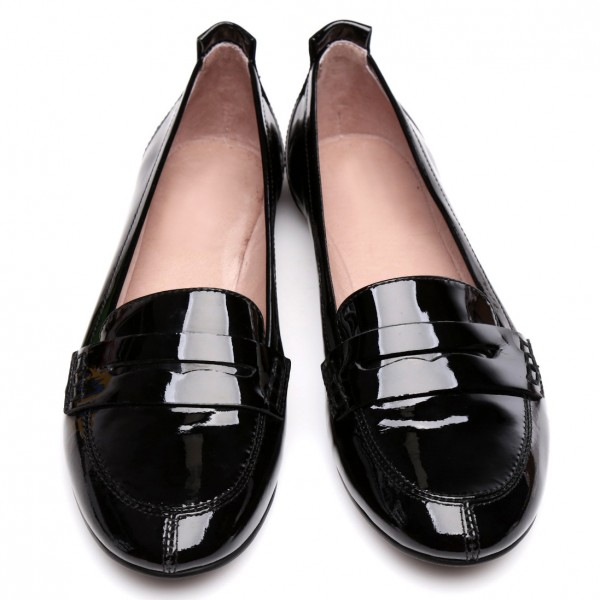 Black Patent Leather Vintage Round Toe Flat Loafers for Women image 1
