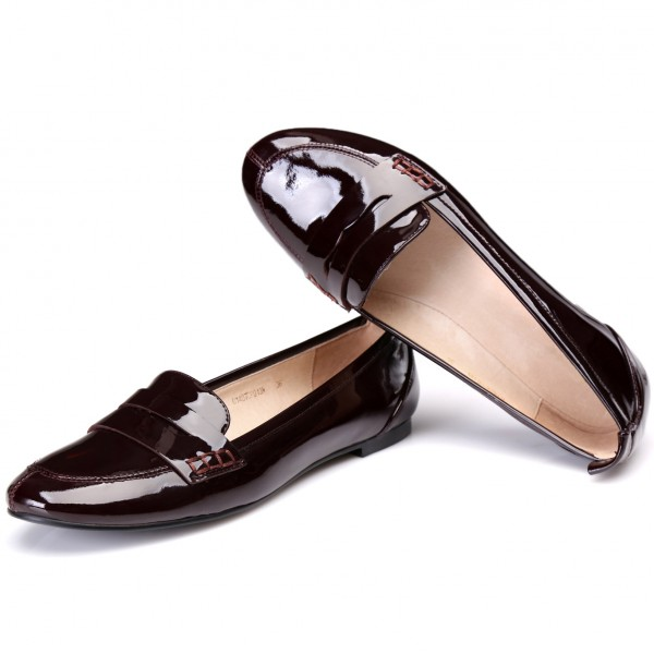 Burgundy Patent Leather Slip-on Flat Round Toe Vintage Women's Oxfords image 1