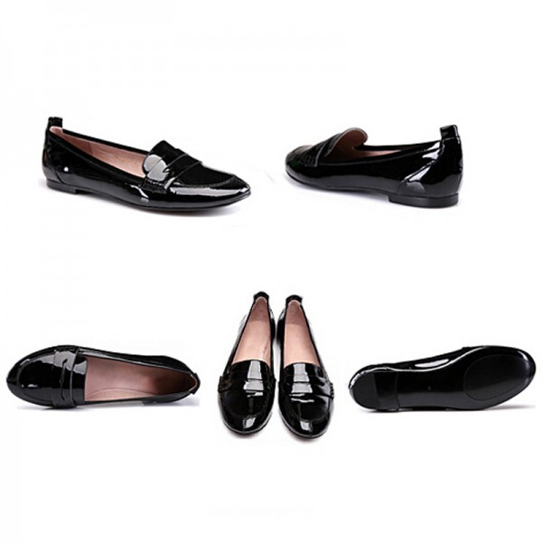 Black Patent Leather Flat Penny Loafers for Women image 3
