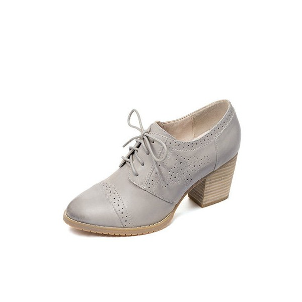 Light Grey Non-slip Round Toe Vintage Lace-up Women's Brogues image 1
