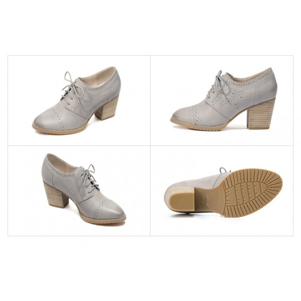 Light Grey Non-slip Round Toe Vintage Lace-up Women's Brogues image 5