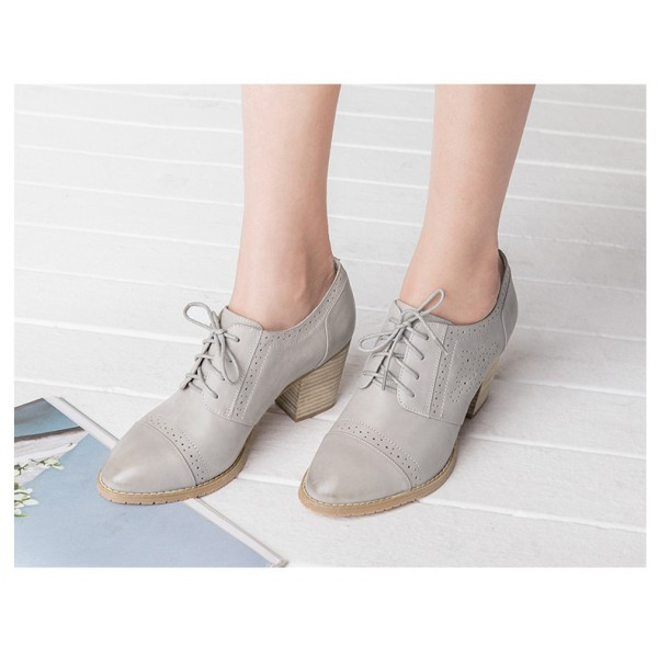Light Grey Non-slip Round Toe Vintage Lace-up Women's Brogues image 4