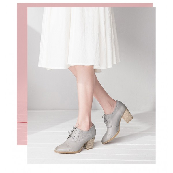 Light Grey Non-slip Round Toe Vintage Lace-up Women's Brogues image 2
