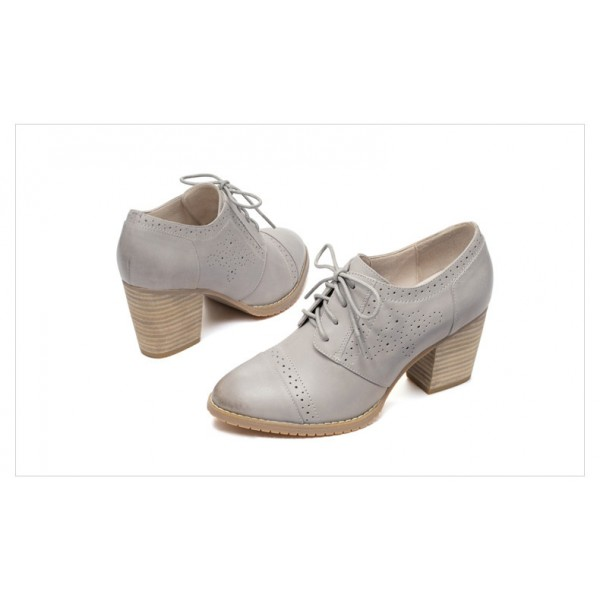 Light Grey Non-slip Round Toe Vintage Lace-up Women's Brogues image 3
