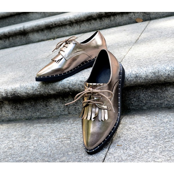 Sliver Fringed Pointed Toe Vintage Lace-up Women's Oxfords Brogues image 3