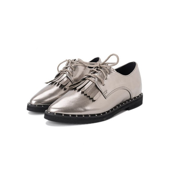 Sliver Fringed Pointed Toe Vintage Lace-up Women's Oxfords Brogues image 1