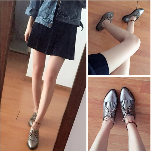 Sliver Fringed Pointed Toe Vintage Lace-up Women's Oxfords Brogues image 2