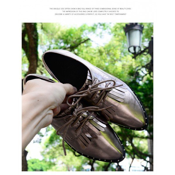 Sliver Fringed Pointed Toe Vintage Lace-up Women's Oxfords Brogues image 6
