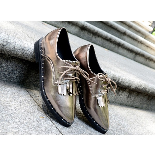 Sliver Fringed Pointed Toe Vintage Lace-up Women's Oxfords Brogues image 5