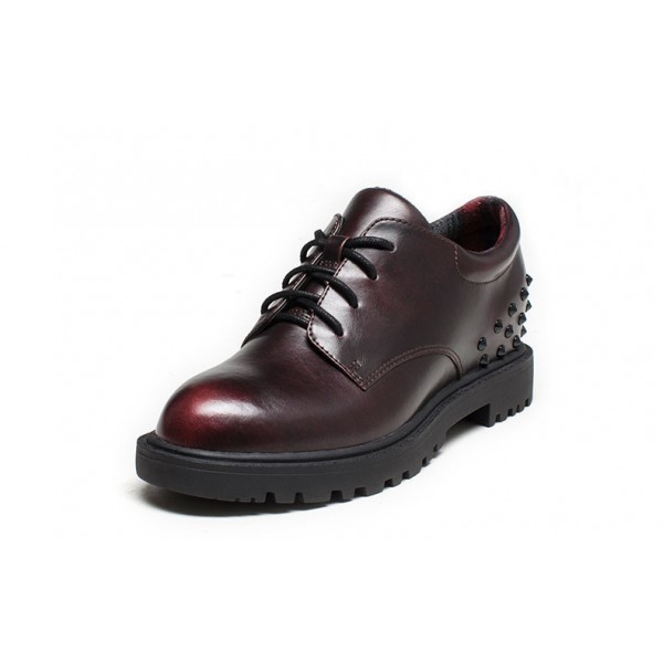 Women's Maroon Oxfords Round Toe Lace-up  Rivets Vintage Shoes image 1