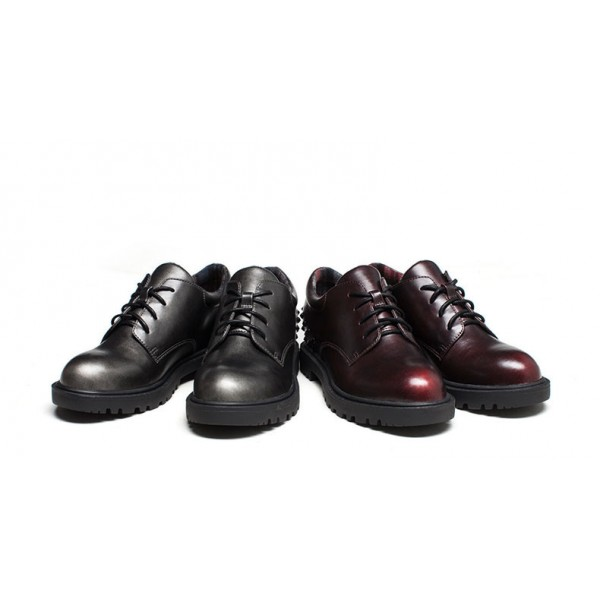 Women's Maroon Oxfords Round Toe Lace-up  Rivets Vintage Shoes image 3