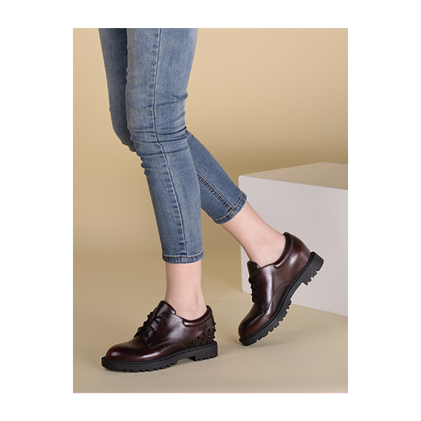 Women's Maroon Oxfords Round Toe Lace-up  Rivets Vintage Shoes image 6