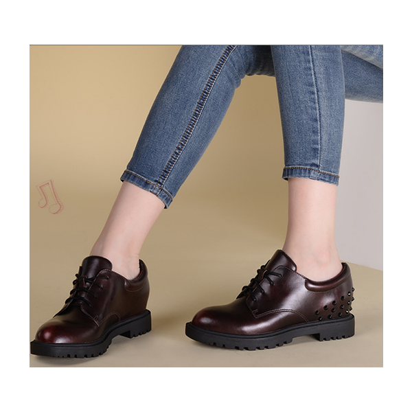 Women's Maroon Oxfords Round Toe Lace-up  Rivets Vintage Shoes image 4