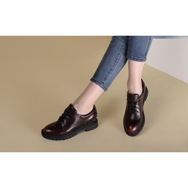 Women's Maroon Oxfords Round Toe Lace-up  Rivets Vintage Shoes image 5
