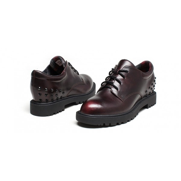Women's Maroon Oxfords Round Toe Lace-up  Rivets Vintage Shoes image 2